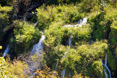 Flowing water on falling lakes of Plitvice Stock Photo