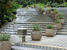 Flowing Water. Hong Kong July 2016 - A water feature with water flowing down stairs in the Hong Kong Park Stock Photos