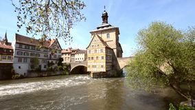 Flowing water at the old town hall of Bamberg stock video footage