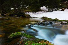 Flowing water of river over mossy stones Royalty Free Stock Photos