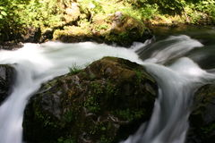 Flowing Water. A small waterfall with a slow shutter speed in Olympic Park, WA Royalty Free Stock Photo