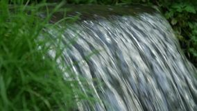 Flowing water splash on waterfall with green grass slow motion and close up macro. Beautiful nature in the meadow. Rack focus stock footage