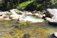 Flowing water and stones. In Malaysia Stock Photography