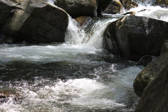 Flowing water and stones. In Malaysia Royalty Free Stock Images