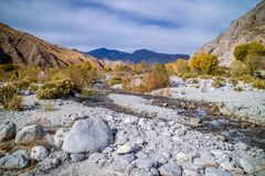 A flowing water in a stream of Whitewater Preserve Wildlands Conservancy. A natural preserve of natural resources at Whitewater Preserve, California stock photos