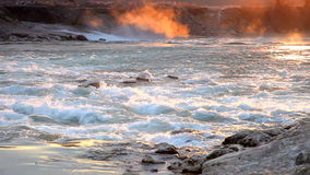 Flowing Water and wave in sunrise stock footage