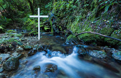 Flowing Water White Cross Stock Photos