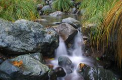 Flowing Waterfall. Long exposure of a small natural waterfall in motion Stock Photography