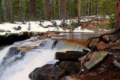 Flowing waterfall in the Uinta Mountains. Waterfall in the Uinta Mountains, Utah, USA Royalty Free Stock Images