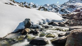 Flowing Winter River Slowmotion 4k stock footage