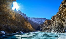 Zanskar river during Chadar Trek Royalty Free Stock Photo