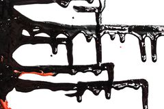 Flows of black and red paint. Flows of black and red thick paint on white background royalty free stock image