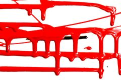 Flows of red paint. Flows of red thick paint on white background stock photo