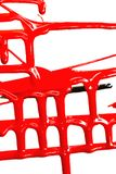 Flows of red paint. Flows of red thick paint on white background stock photography