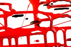 Flows of red paint. Flows of red thick paint on white background royalty free stock image