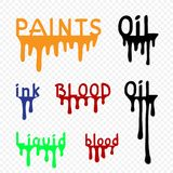 Flows set of oil paint liquid blood ink. Flows set of black oil orange paint green liquid blue ink red blood with letters on transparent background. Drip splash stock illustration