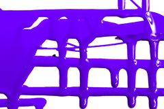 Flows of violet paint. Flows of violet thick paint on white background royalty free stock photo