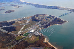 Floyd Bennett Field Aerial. Floyd Bennett Field was New York City's first municipal airport, later used as a naval air station, and is now a park. It is still Stock Image