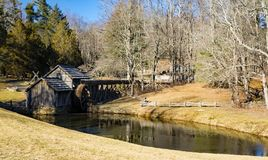 Winter View of Mabry Mill, Blue Ridge Parkway, Virginia royalty free stock photo