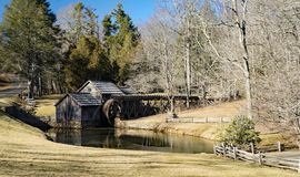 Historic View of Mabry Mill, Blue Ridge Parkway, Virginia. Floyd County – January 25th: A winter view of Mabry Mill gristmill located at milepost 176.2 stock photo