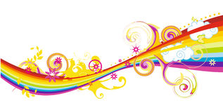 Flüssiges Regenbogendesign mit Blumen Stockbilder