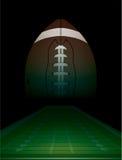 Fält för amerikansk fotboll och bollillustration Arkivbild