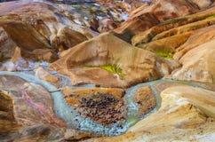 Fält Kerlingafjoll Island geotermiskt för varm fjäder Royaltyfri Bild