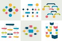 flußdiagramme Satz von 6 Flussdiagrammen entwirft, stellt grafisch dar Einfach Farbe editable lizenzfreie abbildung