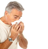 Flu. Man having the flu. Isolated over white background Stock Photo