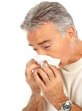 Flu. Man having the flu. Isolated over white background Stock Photos