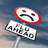 Flu alert concept. Illustration depicting a roadsign with a flu concept. Cloudy dusk background Stock Photo