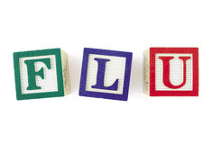 FLU Alphabet Blocks, Viewed From Above Stock Image
