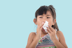 Flu cold or allergy symptom.Sick young asian girl Stock Image