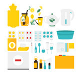 Flu, cold, influenza treatment objects, elements Stock Images