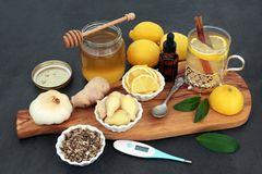 Flu and Cold Remedy Herbal Medicine royalty free stock photography