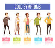 Flu Cold Symptoms Flat Infographic Poster Stock Images