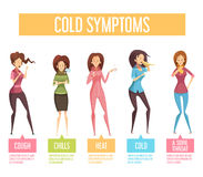 Flu Cold Symptoms Flat Infographic Poster. Flu cold or seasonal influenza symptoms flat infographic poster women feel fever chills cough sore throat vector Stock Photography