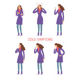 Flu and cold symptoms set. Common flu and cold symptoms set. Human illness and diseases. Cartoon lady. Editable illustration Royalty Free Stock Photos