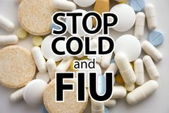 Flu and colds stop. a stack. Of medicines Royalty Free Stock Photo