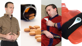 Flu Collage. A collage featuring images associated with having the flu Royalty Free Stock Images