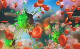 Flu and common cold, blood infection. Microbes under the microscope. Immunity of the body. 3D illustration germs and virus royalty free illustration