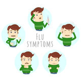 Flu common cold symptoms of influenza. Man suffers cold, fever. Stock Photos