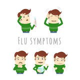 Flu common cold symptoms of influenza. Man suffers cold, fever. Royalty Free Stock Images