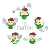 Flu common cold symptoms of influenza. Man suffers cold, fever. Royalty Free Stock Image