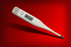 Flu danger. Digital medical thermometer with the word flu over the red background Royalty Free Stock Photo