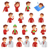 Flu iIlness Icon Set Stock Photos