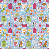 Flu influenza icons vector seamless pattern Royalty Free Stock Image