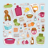 Flu influenza icons vector. Royalty Free Stock Photo