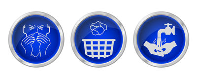 Flu prevention buttons Stock Images