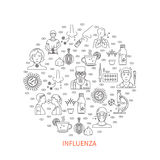 Flu prevention round banner Royalty Free Stock Photos